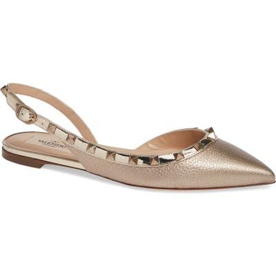 Valentino Garavani Rockstud Slingback Ballerina Flat - Metallic