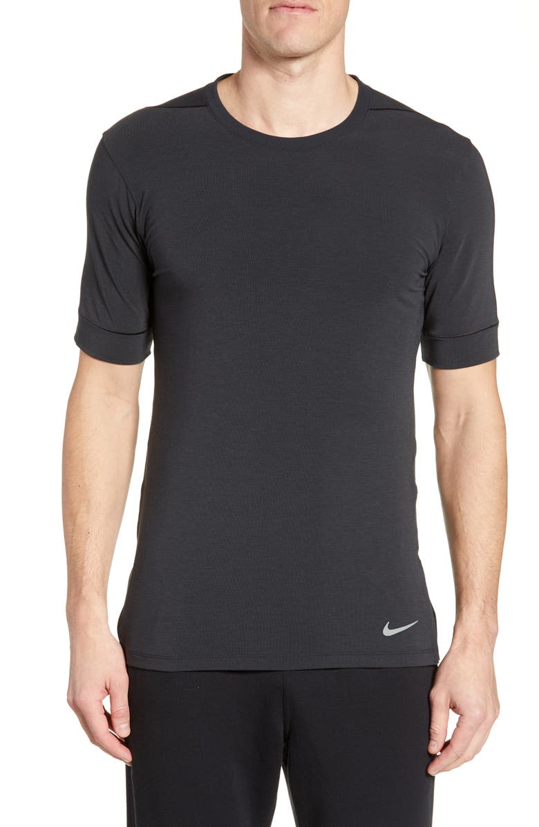 NIKE Dri-FIT Transcend Yoga T-Shirt, Main, color, BLACK/ DARK GREY