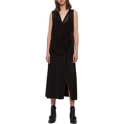 Allsaints Kacie Tie Front Chiffon Midi Dress, Black