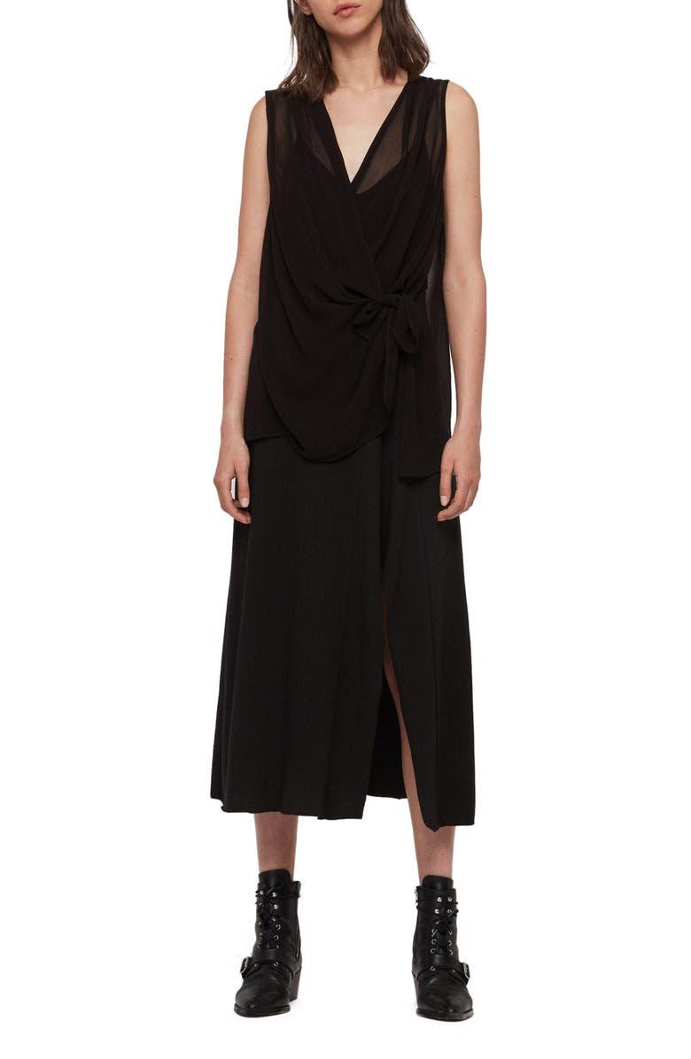 ALLSAINTS Kacie Tie Front Chiffon Midi Dress, Main, color, BLACK