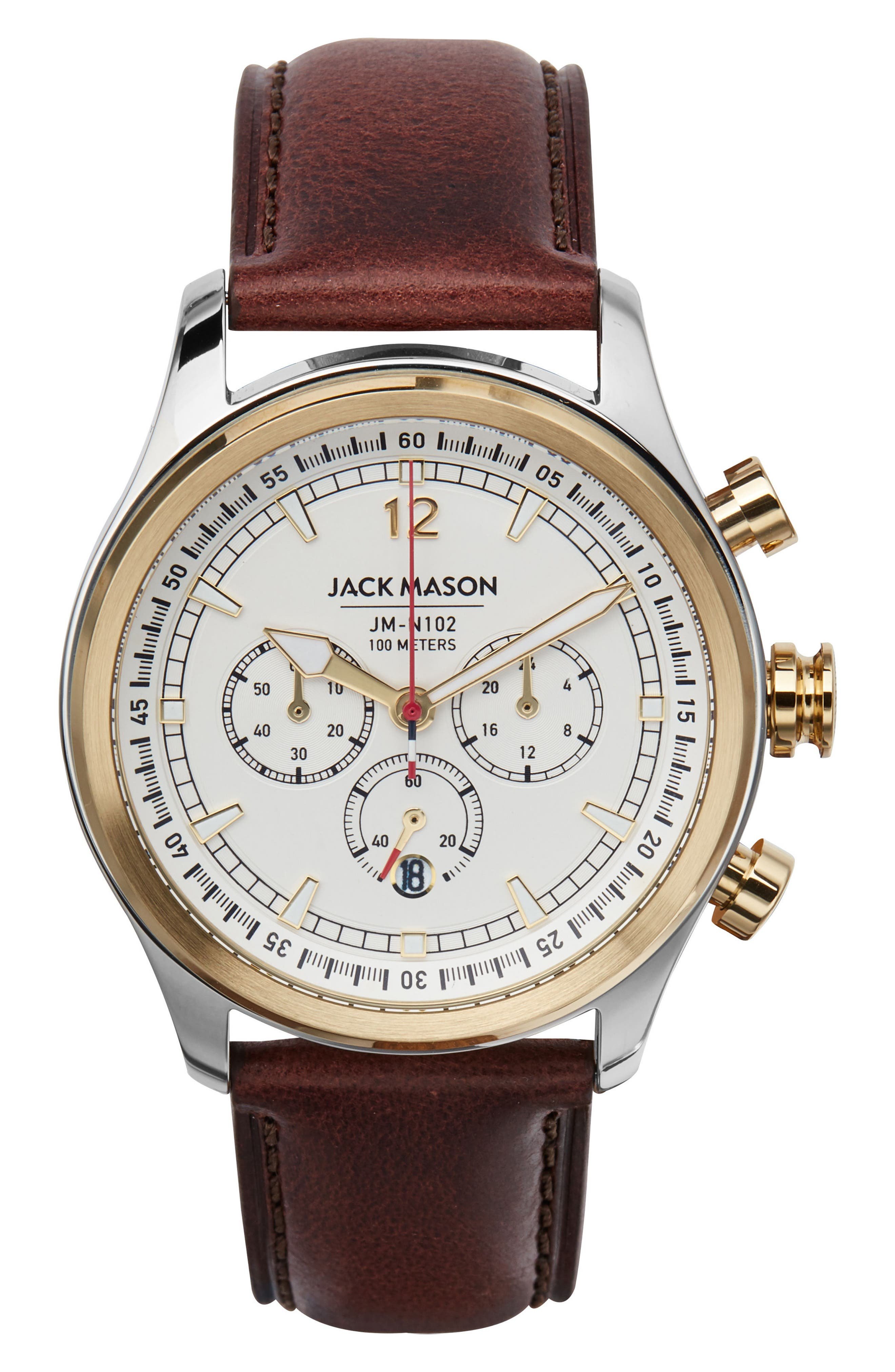 Nautical Chronograph Leather Strap Watch, 42mm, Main, color, WHITE/ BROWN