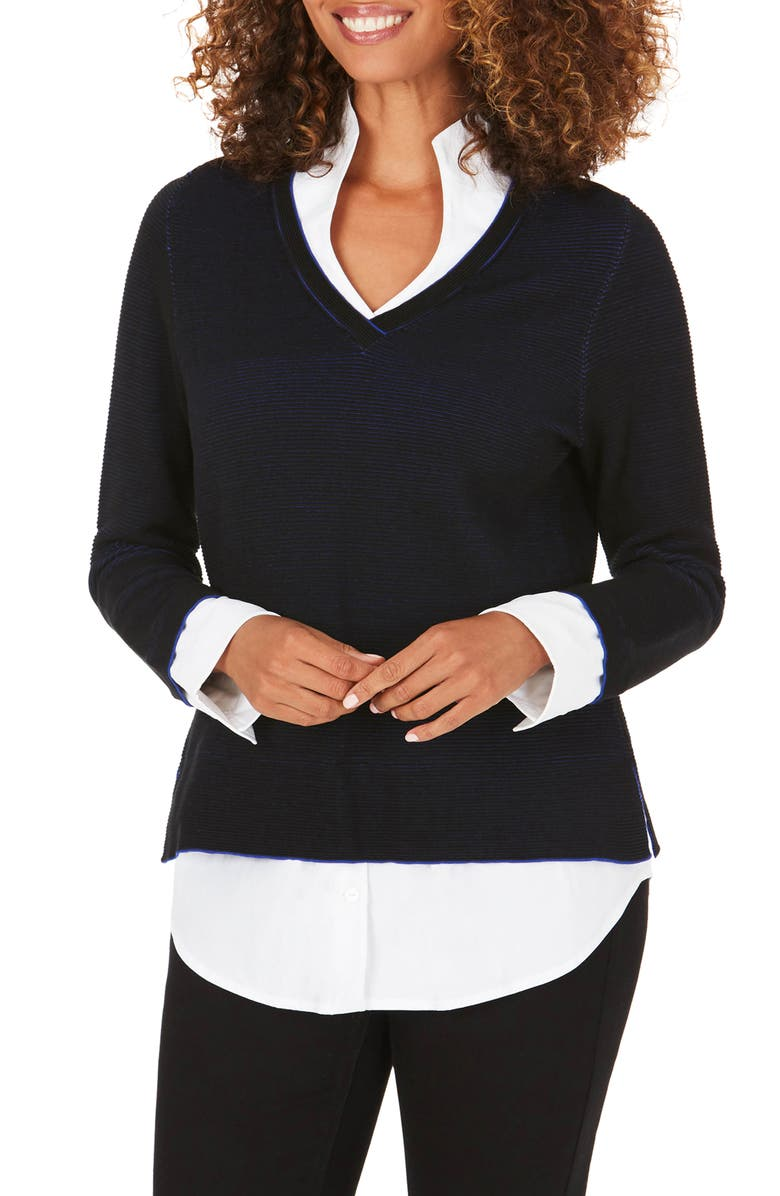 FOXCROFT Mika Layered Look Sweater, Main, color, BLACK