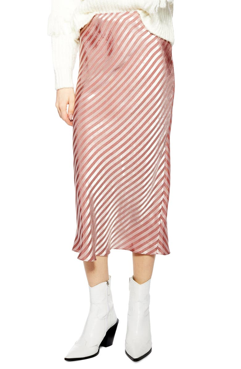TOPSHOP Stripe Satin Bias Midi Skirt, Main, color, LIGHT PINK
