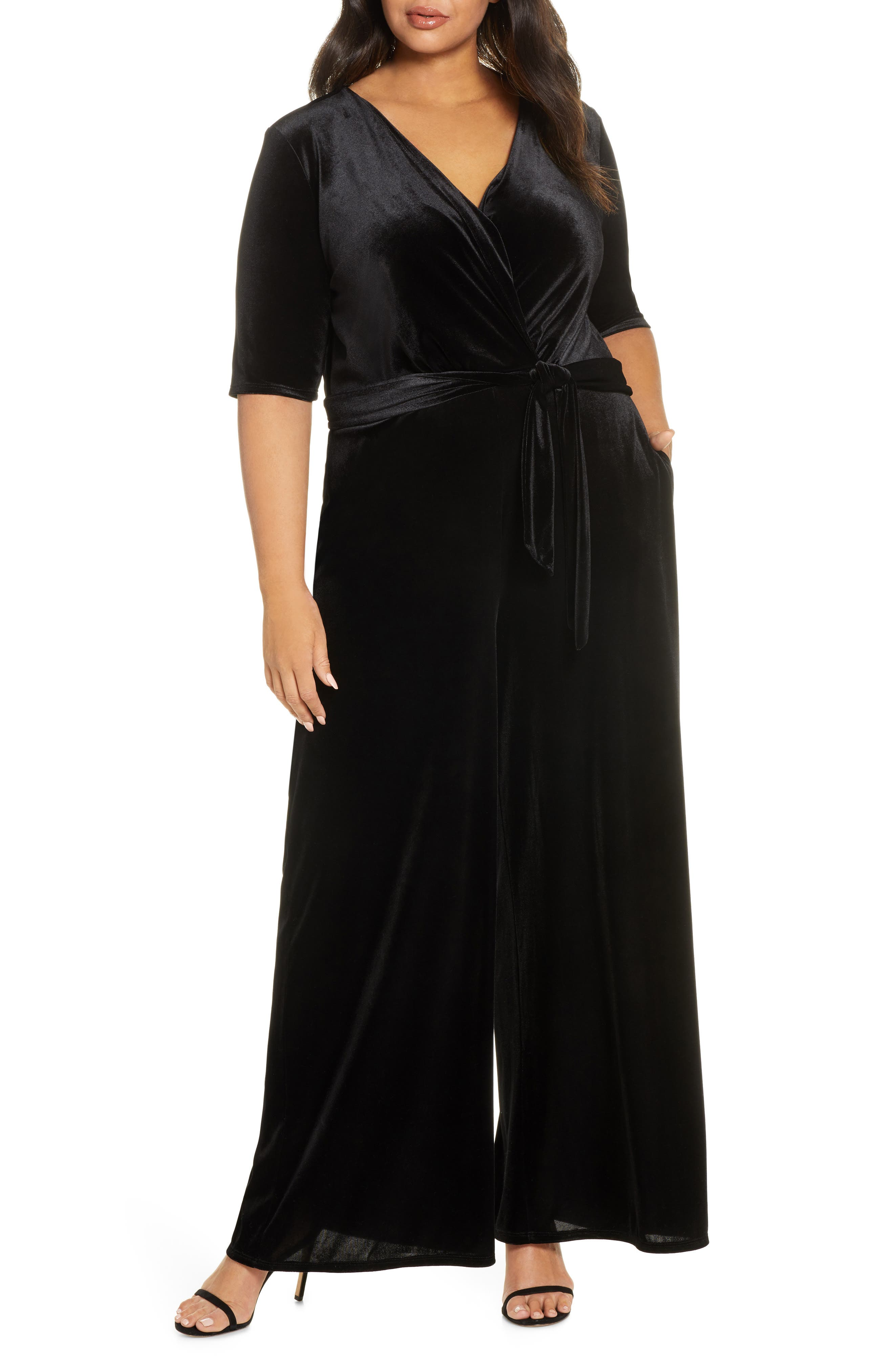 Gibson x Glam Jessica Fay Velvet Wrap Jumpsuit (Plus Size)