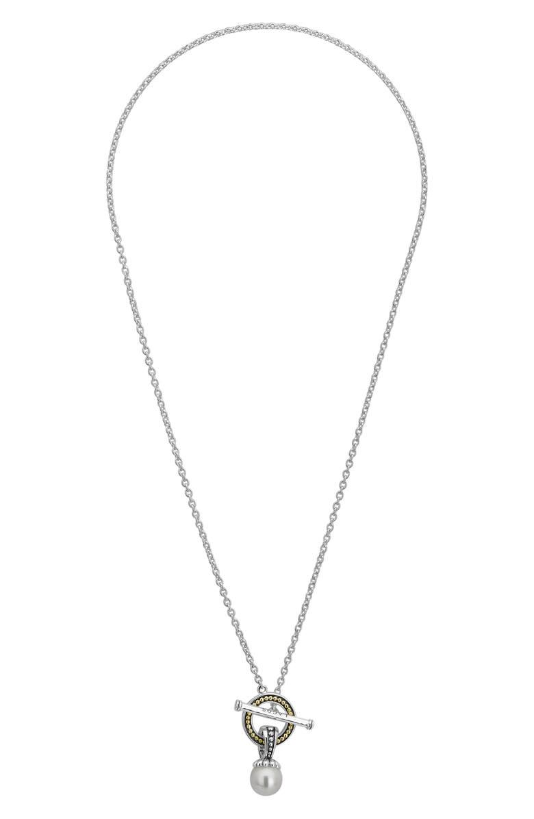 LAGOS Luna Pearl Toggle Pendant Necklace, Main, color, SILVER/ PEARL