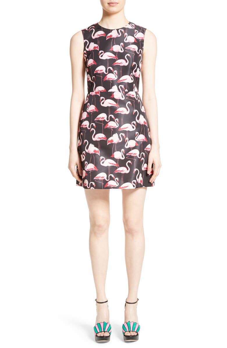 RED VALENTINO Flamingo Print Faille Fit & Flare Dress, Main, color, 650
