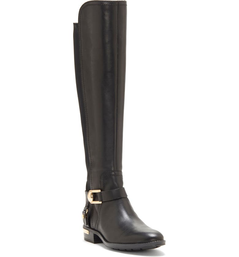 VINCE CAMUTO Pearley Knee High Riding Boot, Main, color, BLACK LEATHER