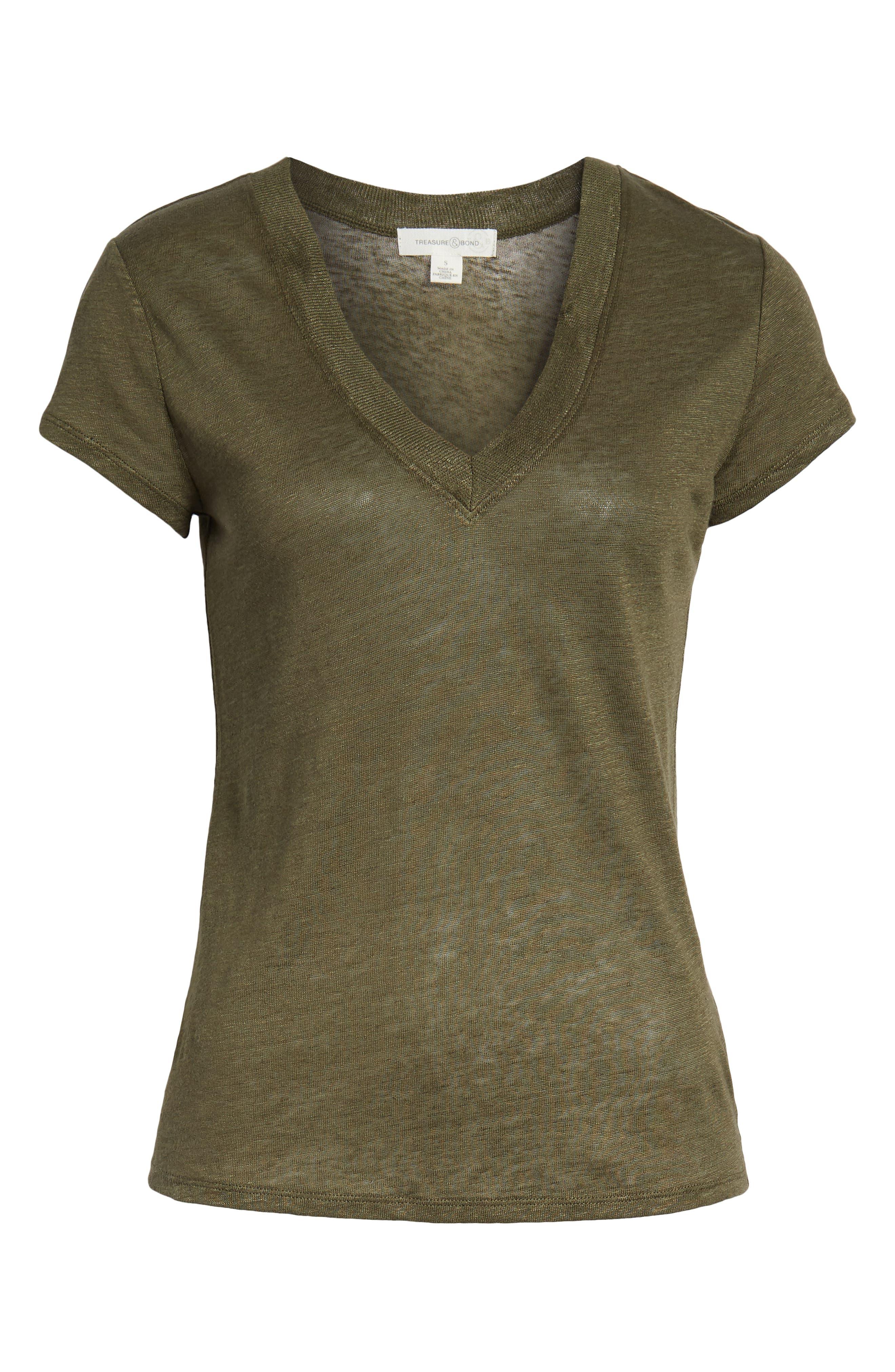 ,                             Cap Sleeve V-Neck Linen Tee,                             Alternate thumbnail 6, color,                             OLIVE SARMA