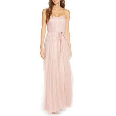 Marchesa Notte Strapless Tulle Bridesmaid Gown, Pink
