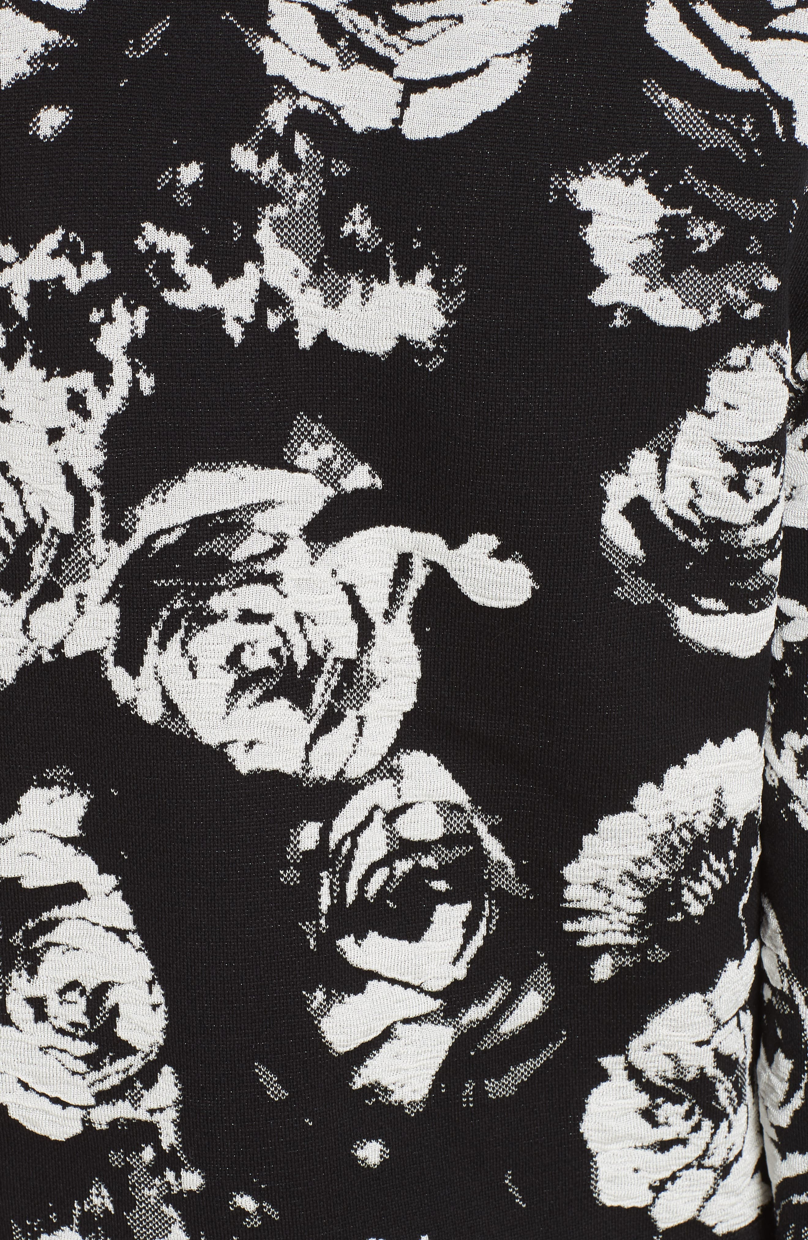 ,                             Floral Blister Knit Cardigan,                             Alternate thumbnail 6, color,                             CAVIAR/ CREAM