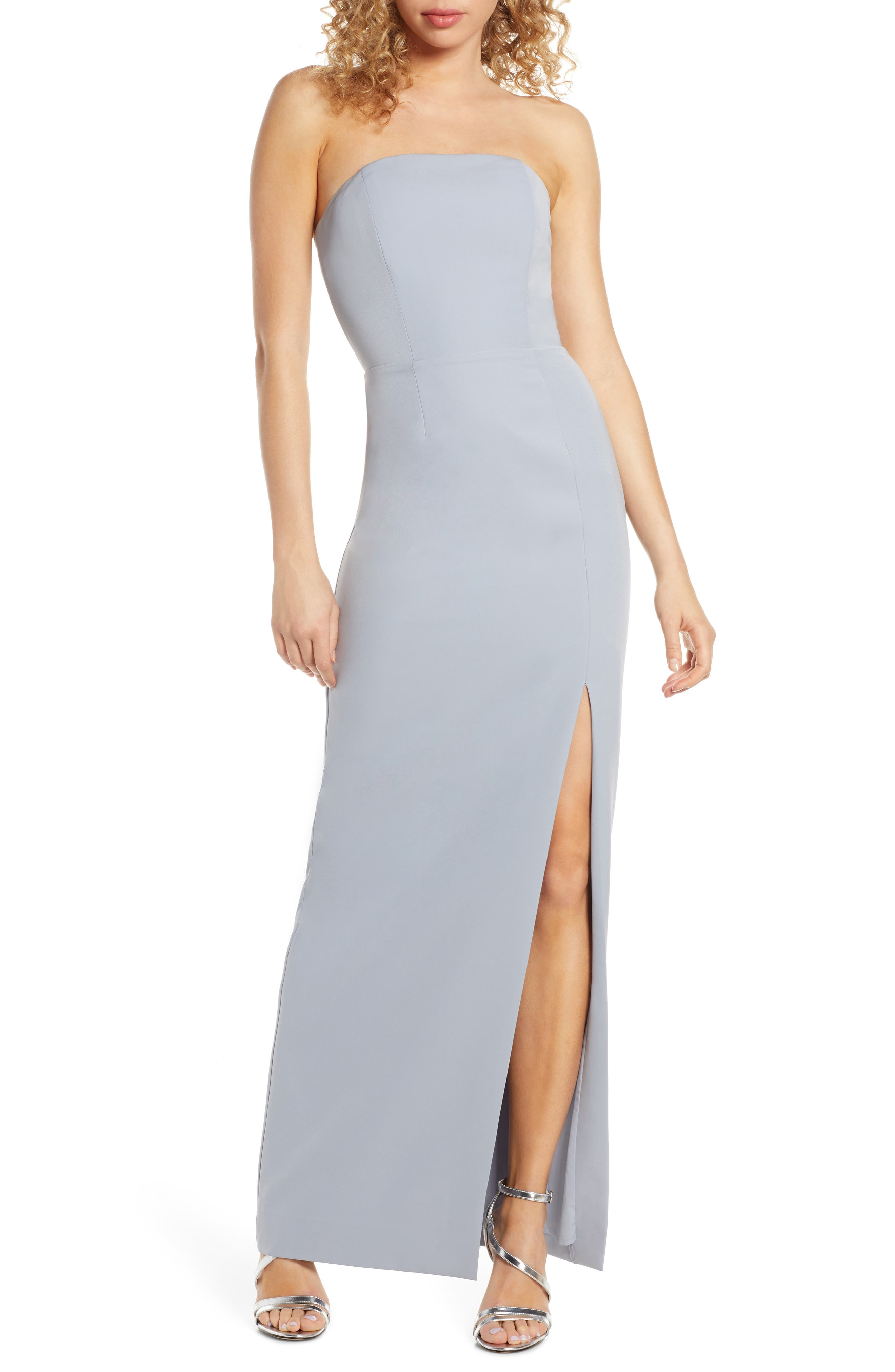 Wayf The Mila Strapless Slit Column Gown, Blue