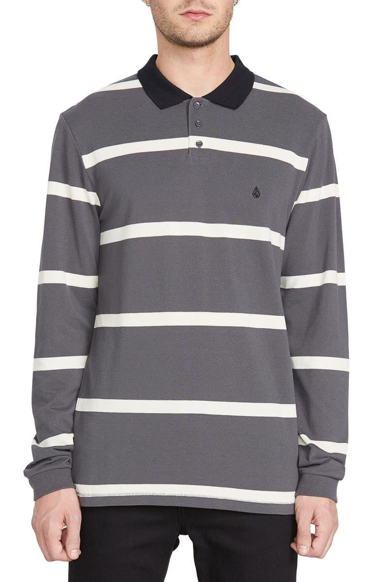 VOLCOM Bracer Long Sleeve Stripe Piqué Polo, Main, color, ASPHALT BLACK