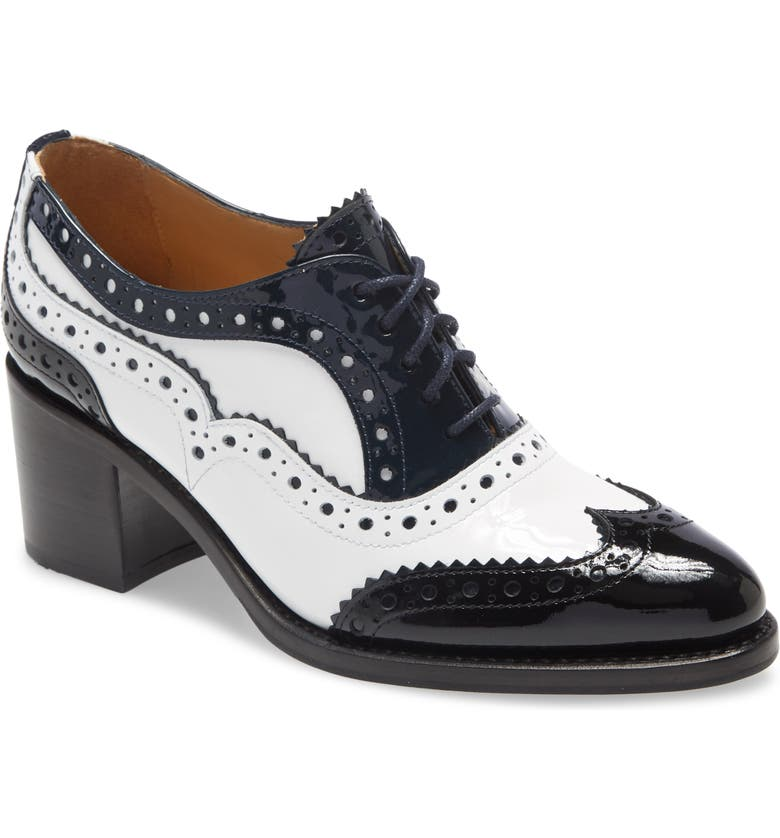 THE OFFICE OF ANGELA SCOTT Mrs. Doubt Block Heel Oxford, Main, color, BLACK/ WHITE/ NAVY