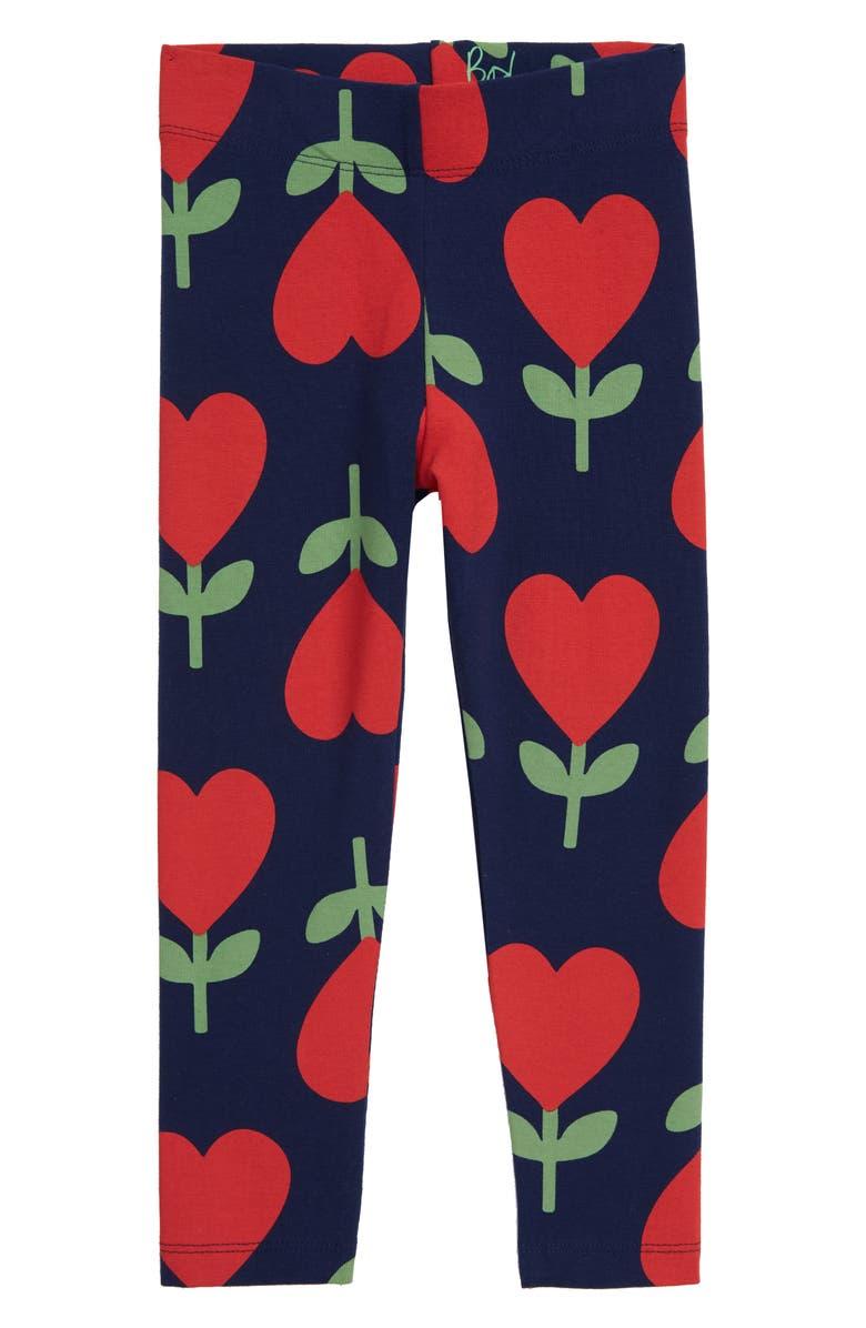 MINI BODEN Boden Fun Print Leggings, Main, color, COLLEGE BLUE HEART FLOWERS