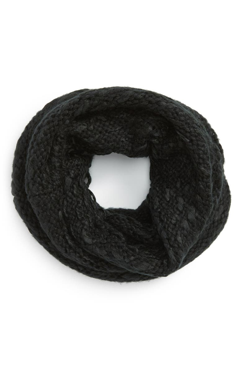 VINCE CAMUTO 'Thick Thin' Knit Infinity Scarf, Main, color, 001