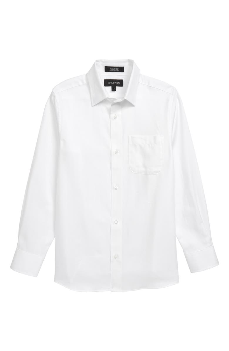 NORDSTROM Button-Up Dress Shirt, Main, color, 100