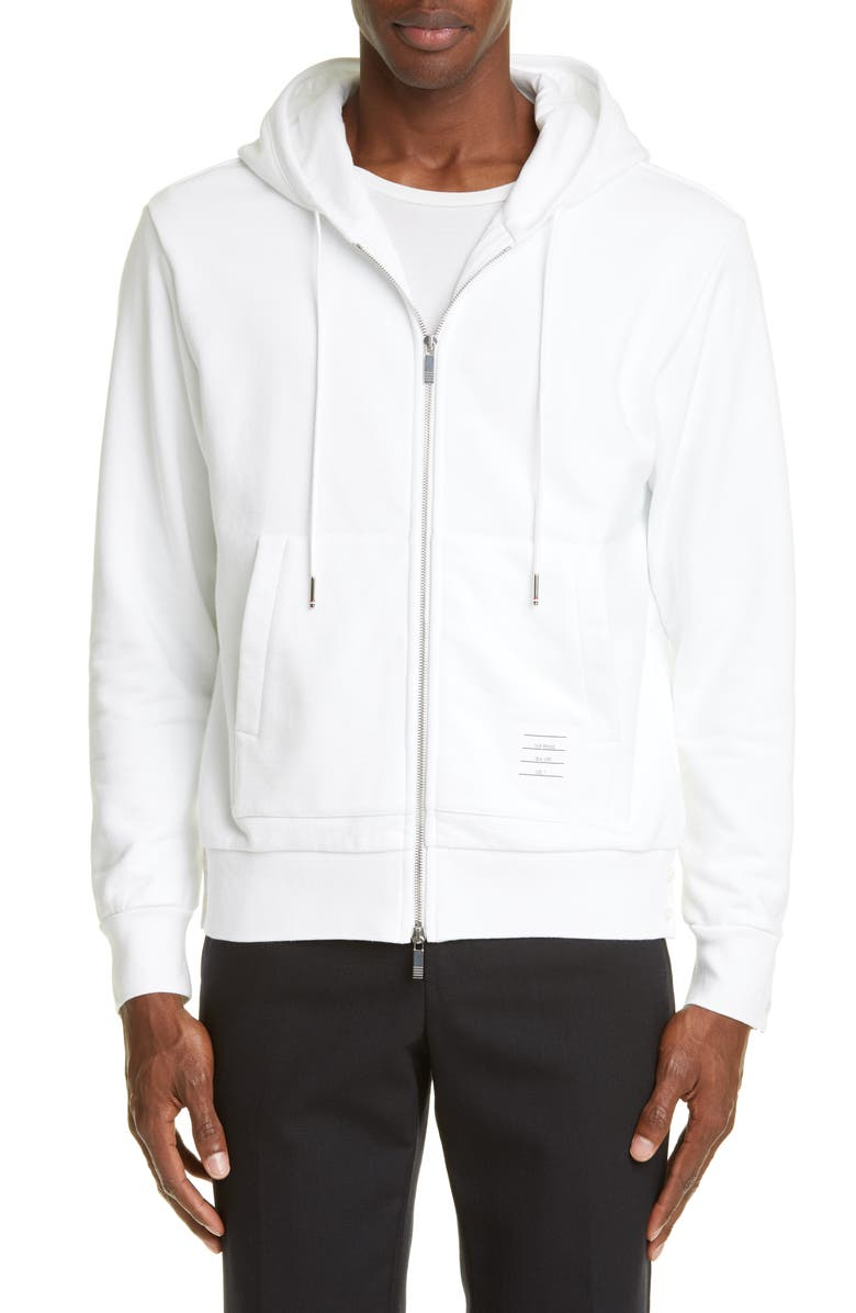 THOM BROWNE Zip Hoodie, Main, color, WHITE