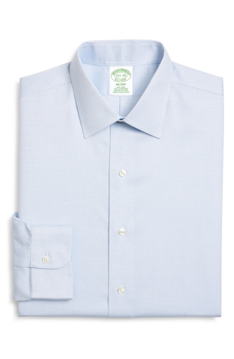 BROOKS BROTHERS Milano Trim Fit Non-Iron Check Dress Shirt, Main, color, MARLIN