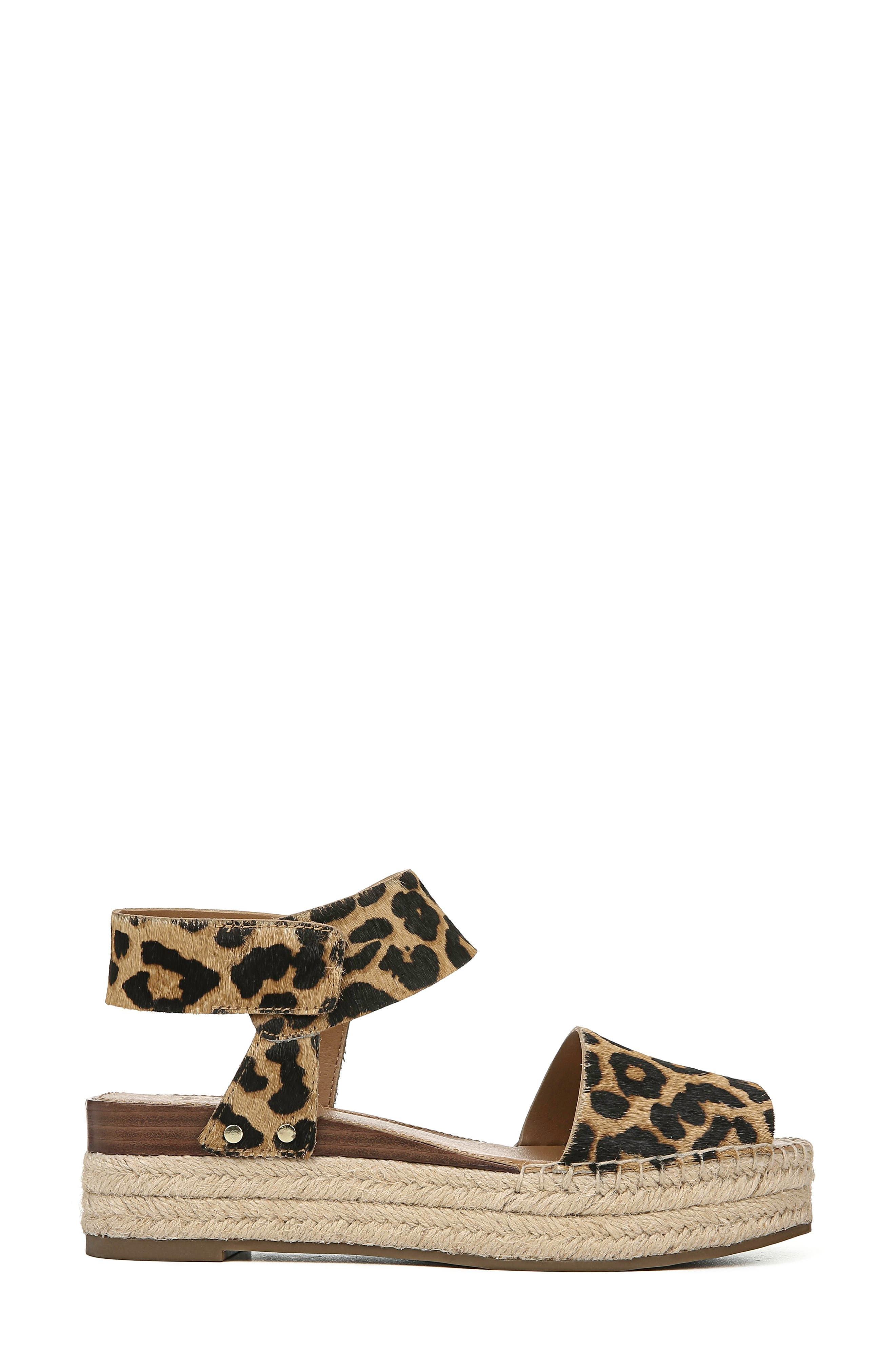 ,                             Oak Genuine Calf Hair Platform Wedge Espadrille,                             Alternate thumbnail 3, color,                             LEOPARD PRINT CALF HAIR