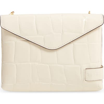 Staud Holly Convertible Croc Embossed Leather Bag - Ivory
