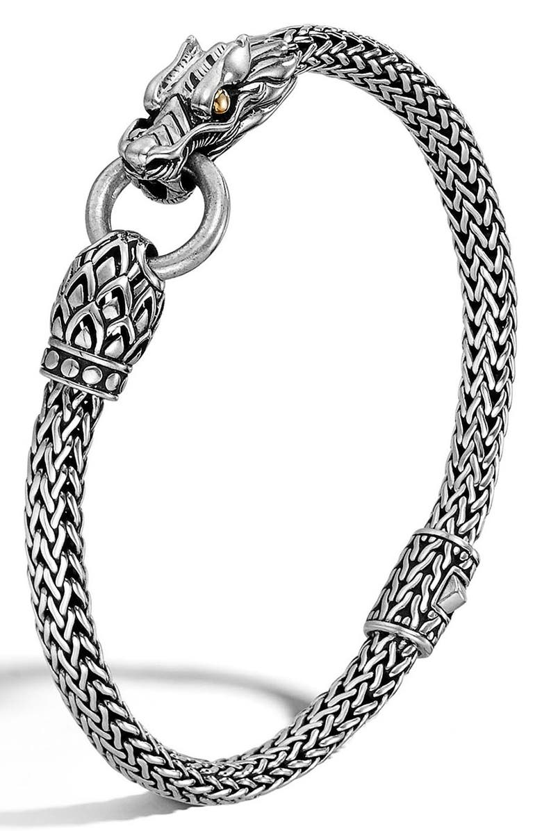 JOHN HARDY Legends Naga 5mm Station Bracelet, Main, color, SILVER/ GOLD