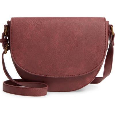Bp. Faux Leather Saddle Bag - Burgundy