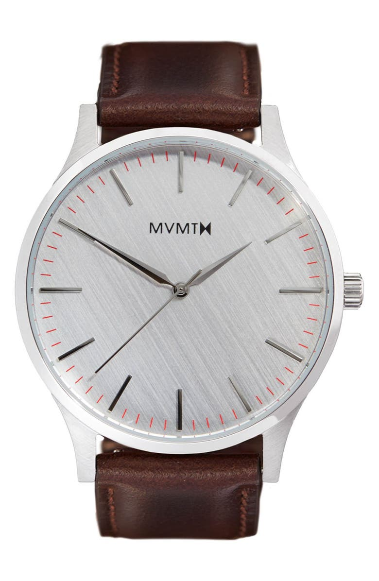 MVMT Leather Strap Watch, 40mm, Main, color, BROWN/ SILVER