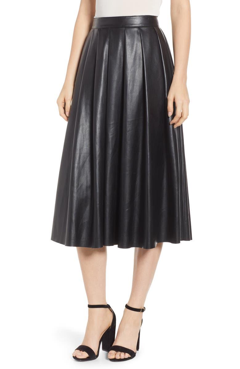 HUDSON JEANS Hudson Faux Leather Midi Skirt, Main, color, 001