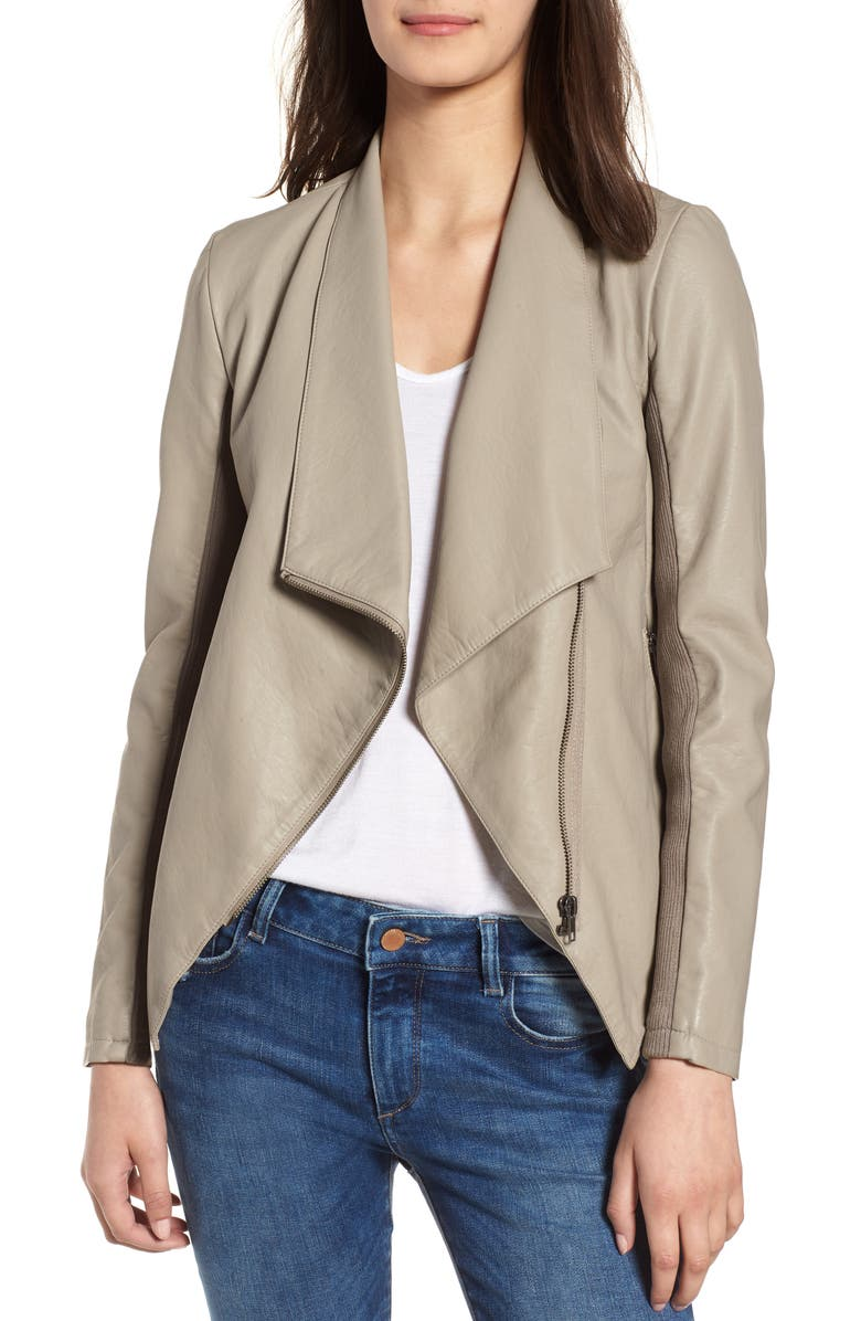 BB DAKOTA Gabrielle Faux Leather Asymmetrical Jacket, Main, color, TOFFEE