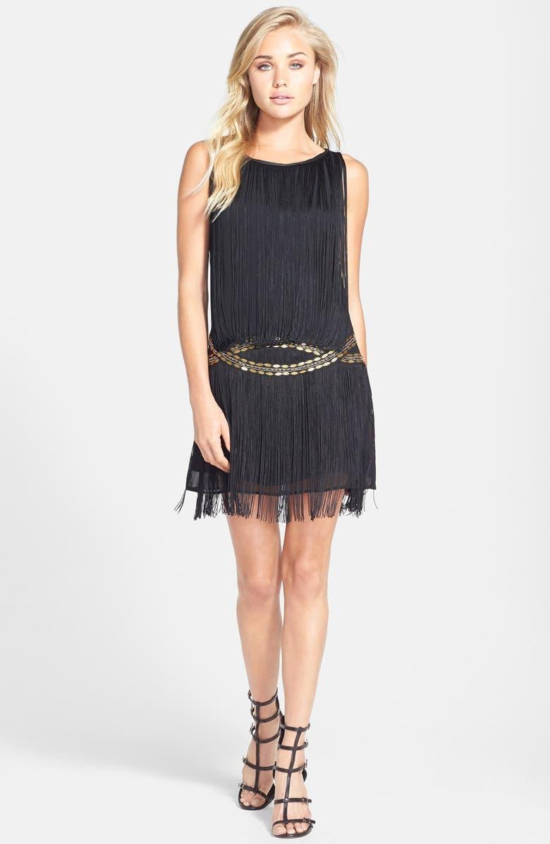 FILTRE Tassel Embellished Shift Dress, Main, color, BLACK