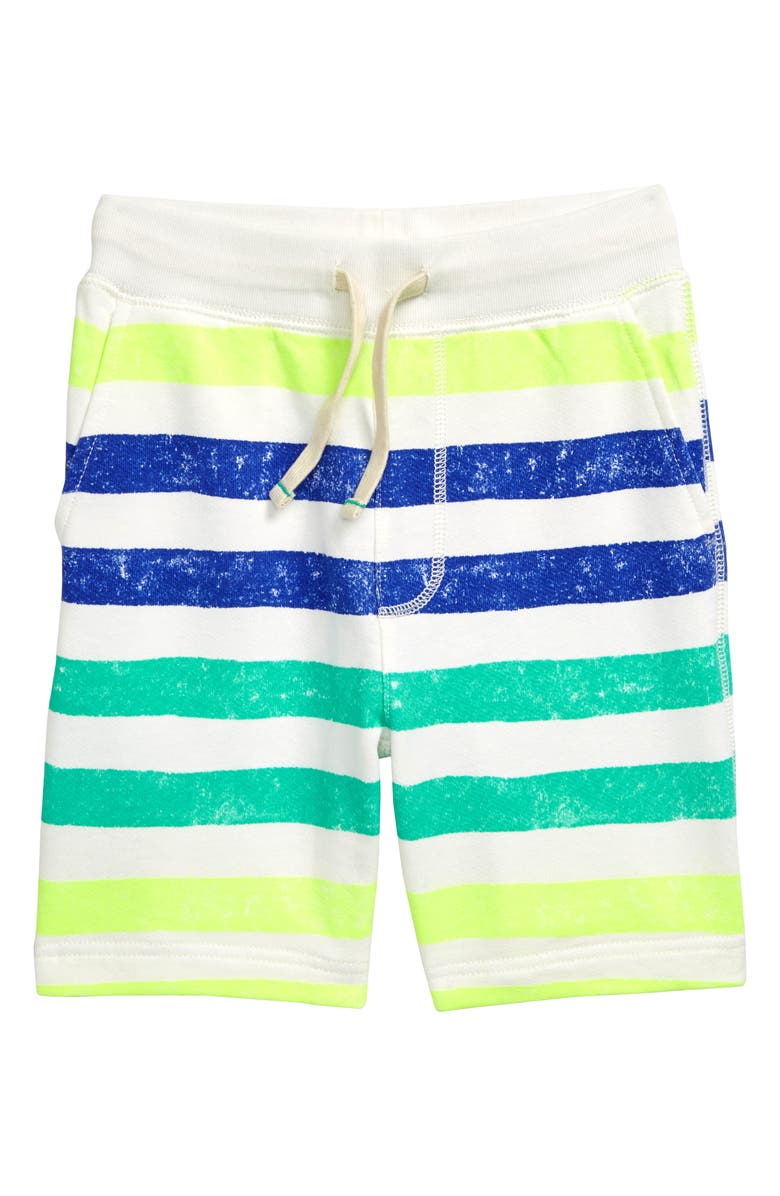 CREWCUTS BY J.CREW Bright Stripe Sweat Shorts, Main, color, PAINTED STRIPES IVORY