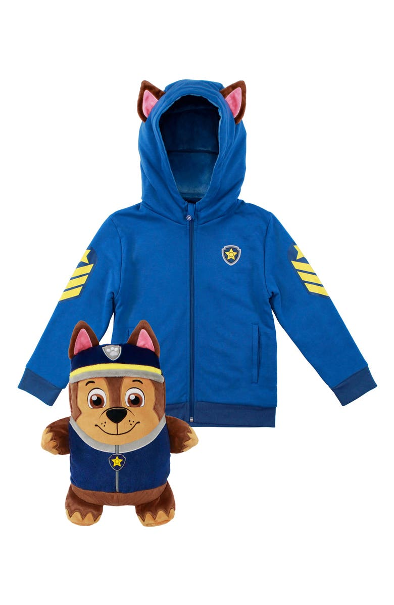 CUBCOATS x Nickelodeon<sup>®</sup> PAW Patrol<sup>™</sup> Chase 2-in-1 Stuffed Animal Hoodie, Main, color, BLUE MIX