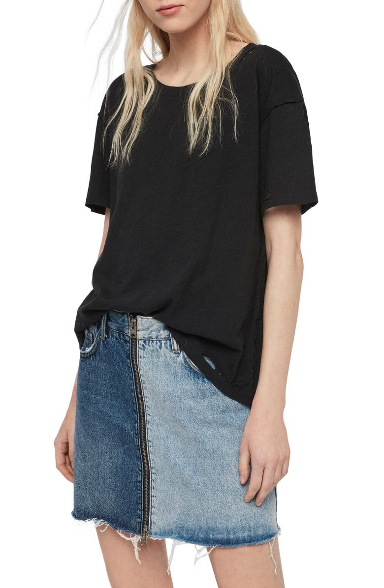 ALLSAINTS Dime Distressed Tee, Main, color, 001
