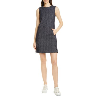 Theory Vent Front Wool & Cotton Blend Shift Dress, Blue