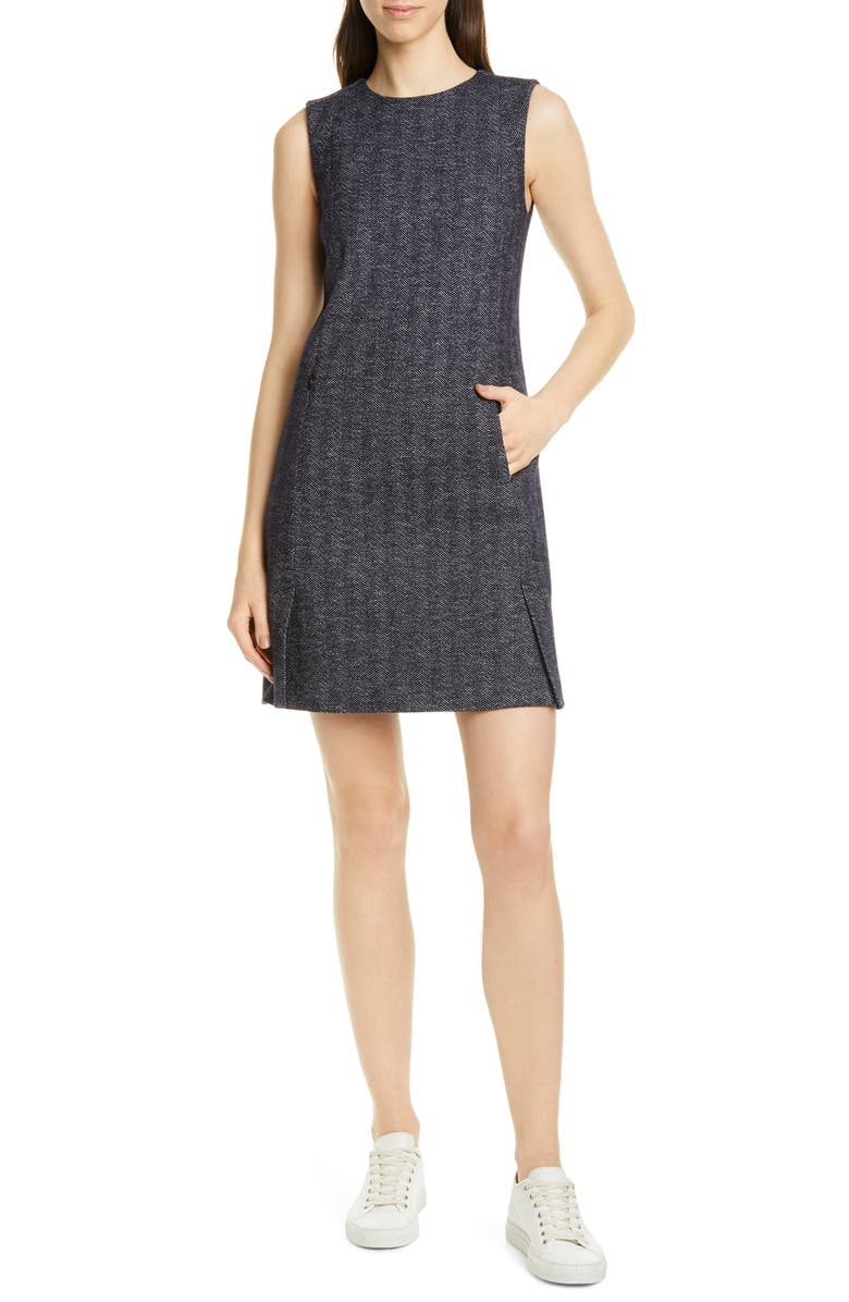 THEORY Vent Front Wool & Cotton Blend Shift Dress, Main, color, 473