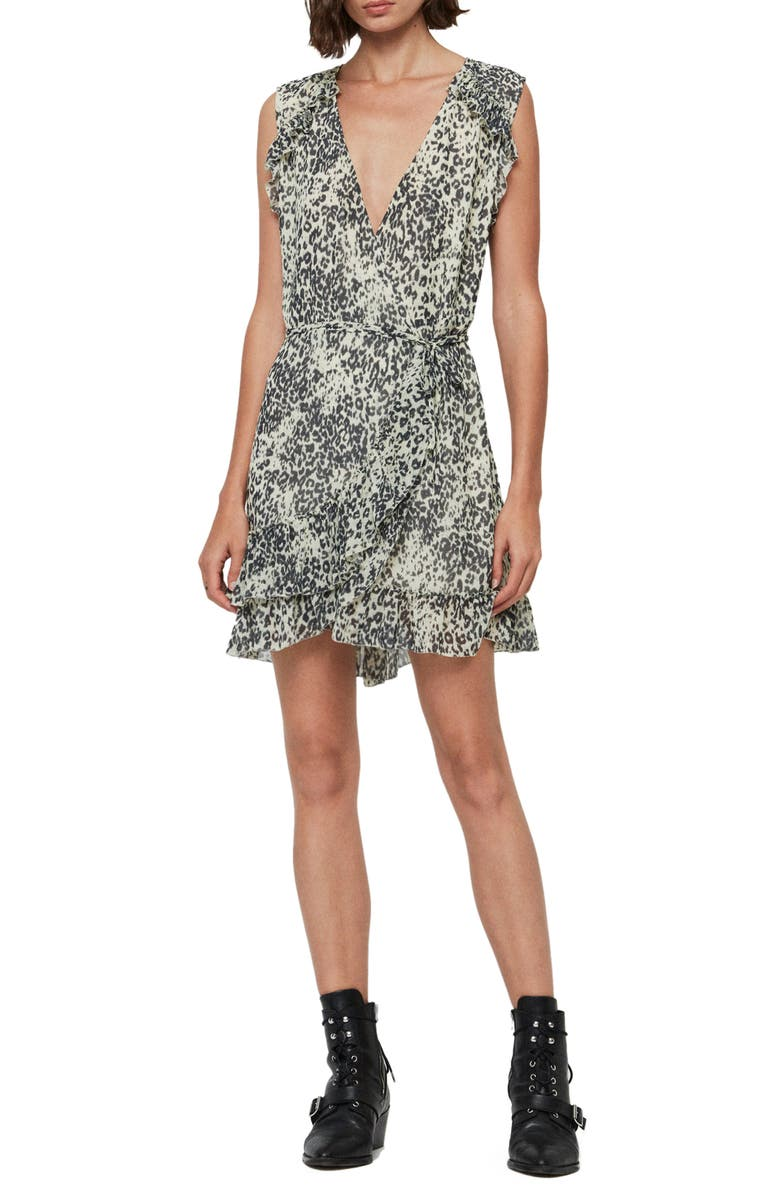 ALLSAINTS Priya Patch Leopard Print Sleeveless Dress, Main, color, IVORY WHITE