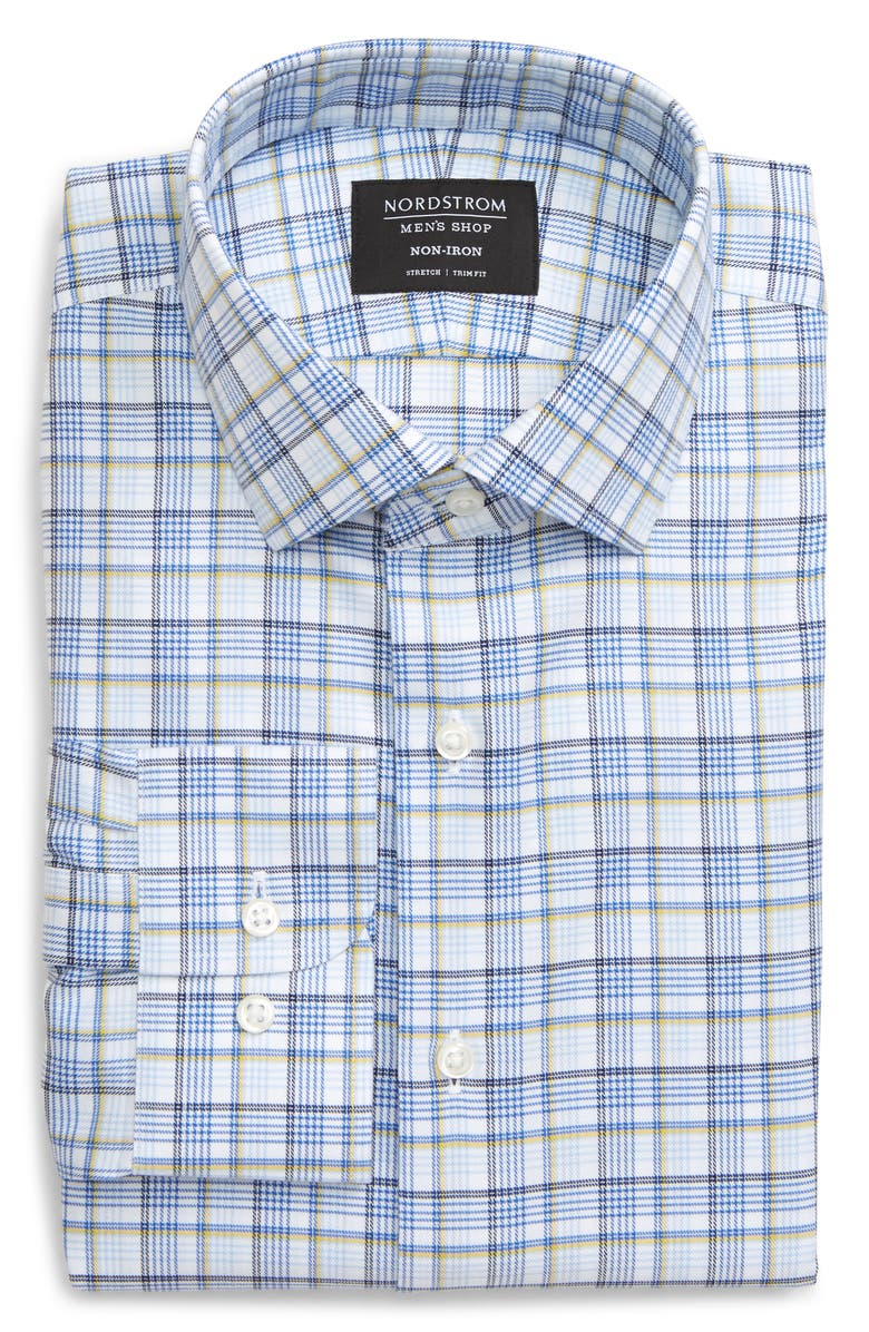 NORDSTROM MEN'S SHOP Trim Fit Non-Iron Plaid Dress Shirt, Main, color, YELLOW DAFFODIL