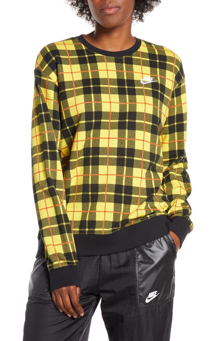 NIKE Plaid Fleece Sweatshirt, Main, color, CHROME YELLOW/ BLACK/ WHITE