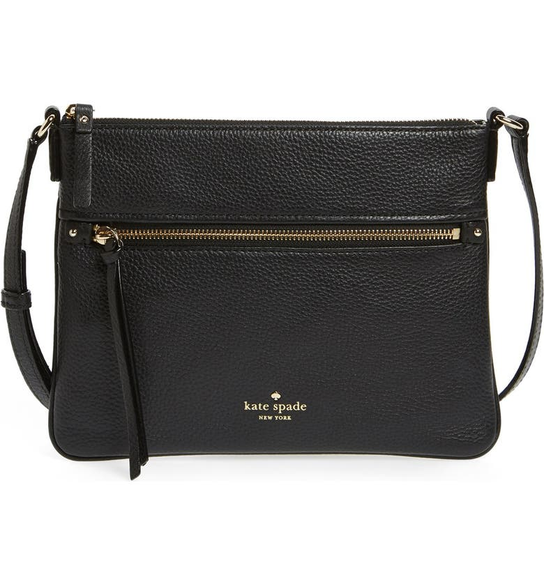 KATE SPADE NEW YORK 'cobble hill - gabriele' pebbled leather crossbody bag, Main, color, 001