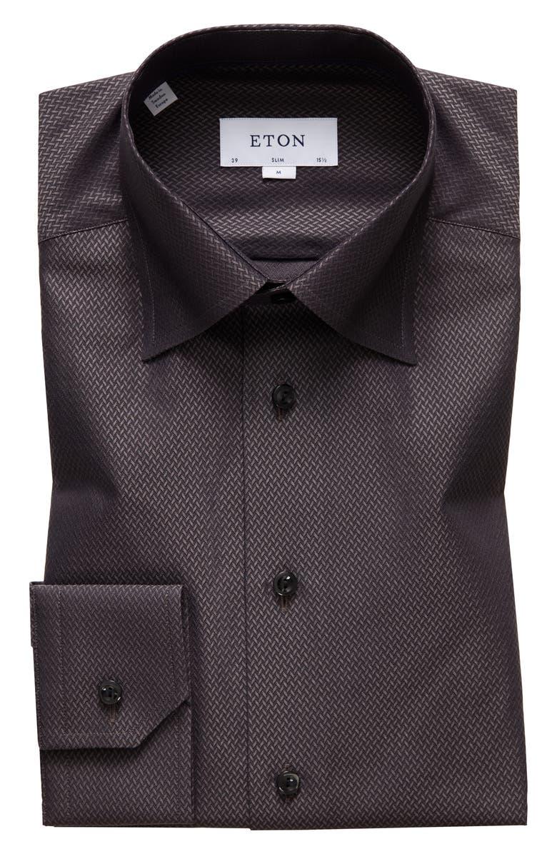 ETON Slim Fit Dress Shirt, Main, color, OFF WHITE/ BROWN