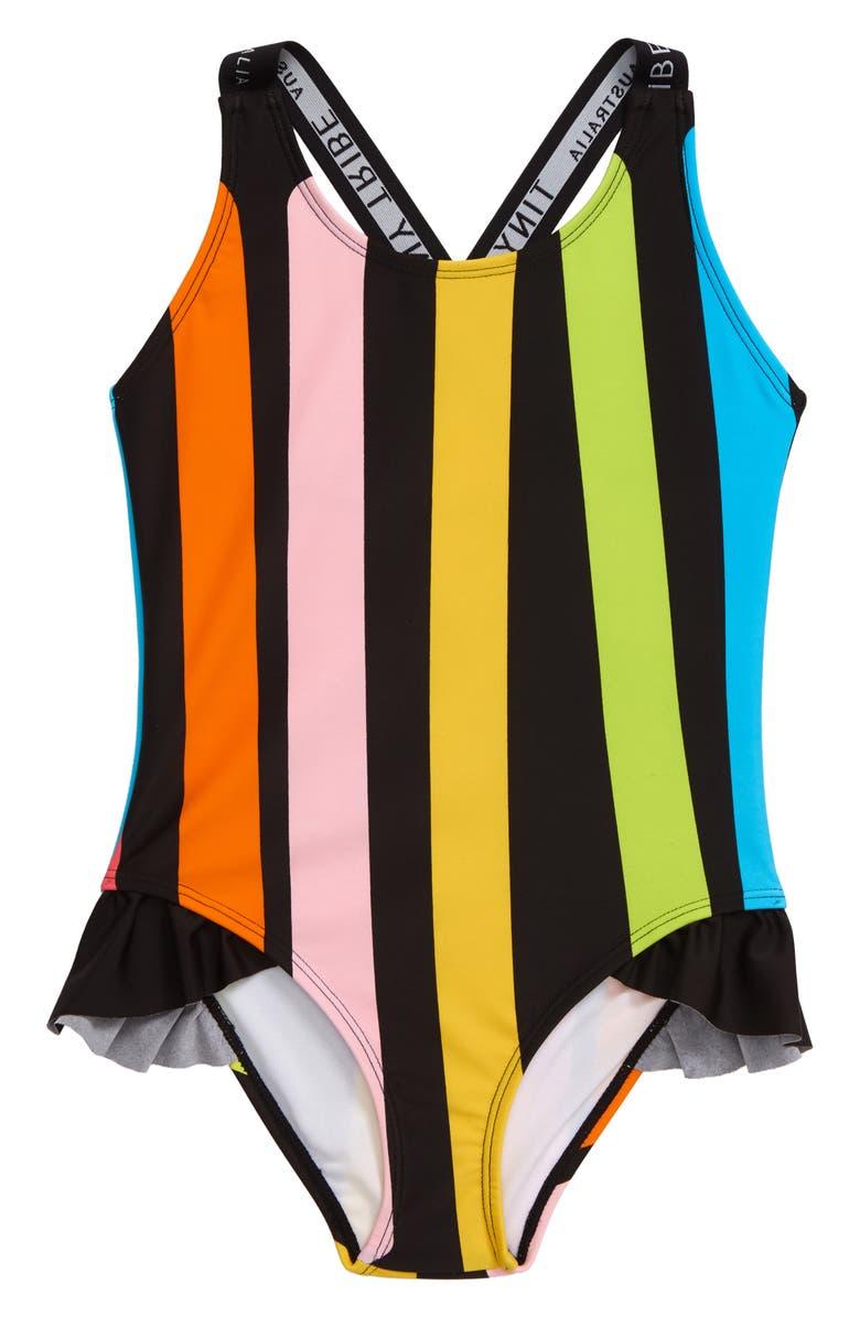 TINY TRIBE Rainbow Stripe Tank, Main, color, BLACK