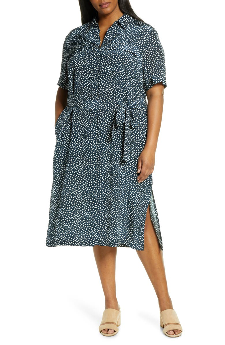 LAFAYETTE 148 NEW YORK Doha Short Sleeve Silk Shirtdress, Main, color, DUNGAREE BLUE MULTI