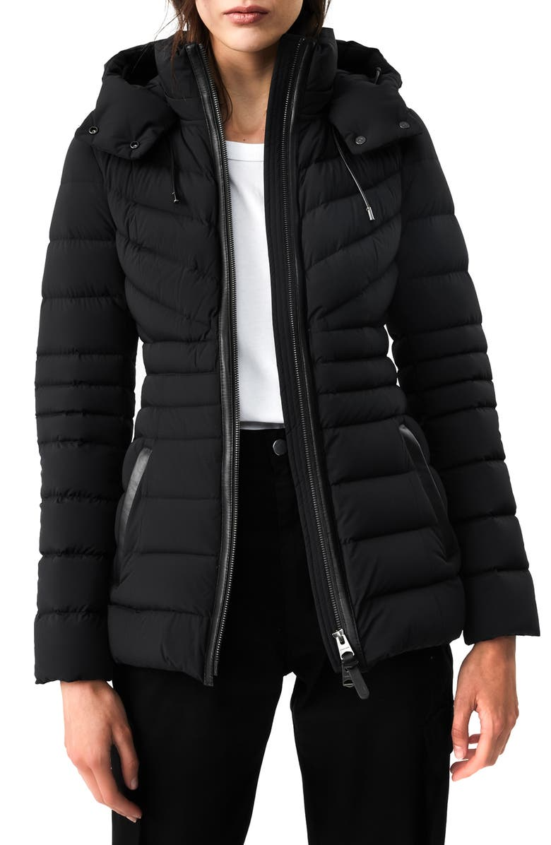 MACKAGE Patsy-NF Stretch Water Repellent Down Coat, Main, color, BLACK