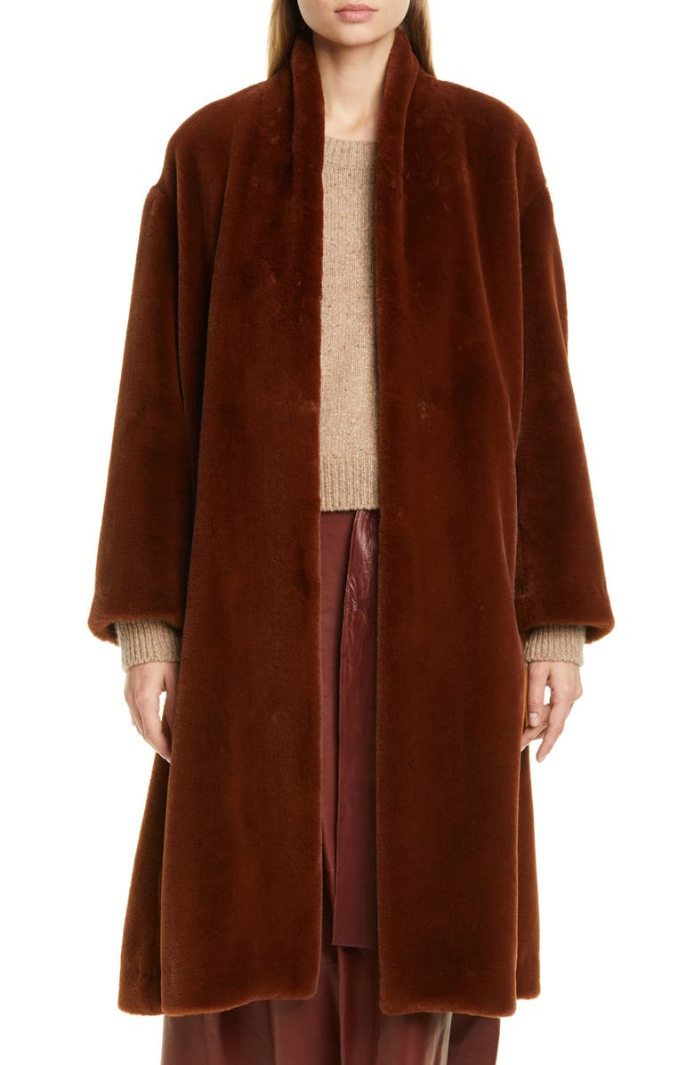 VINCE Belted Faux Fur Long Coat, Main, color, MAHOGANY
