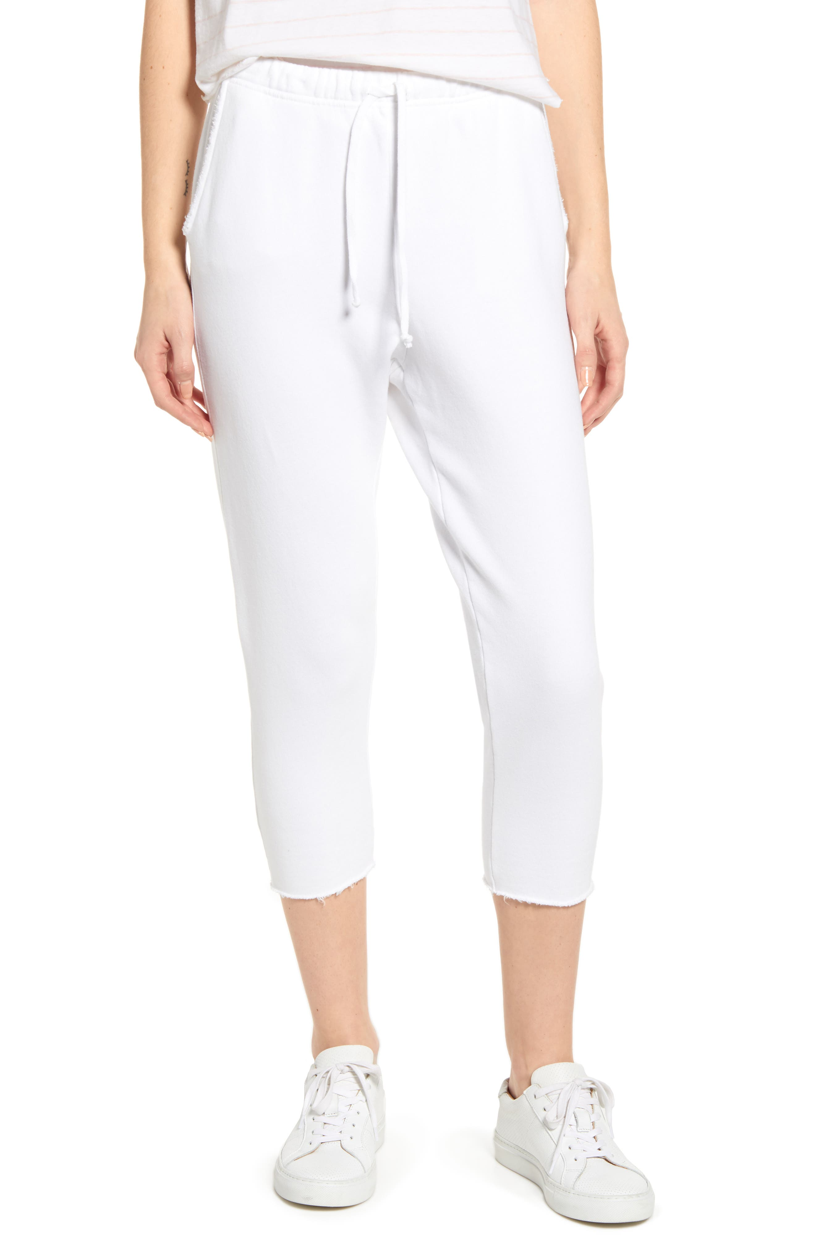 Frank & Eileen Tee Lab Raw Hem Crop Sweatpants, White