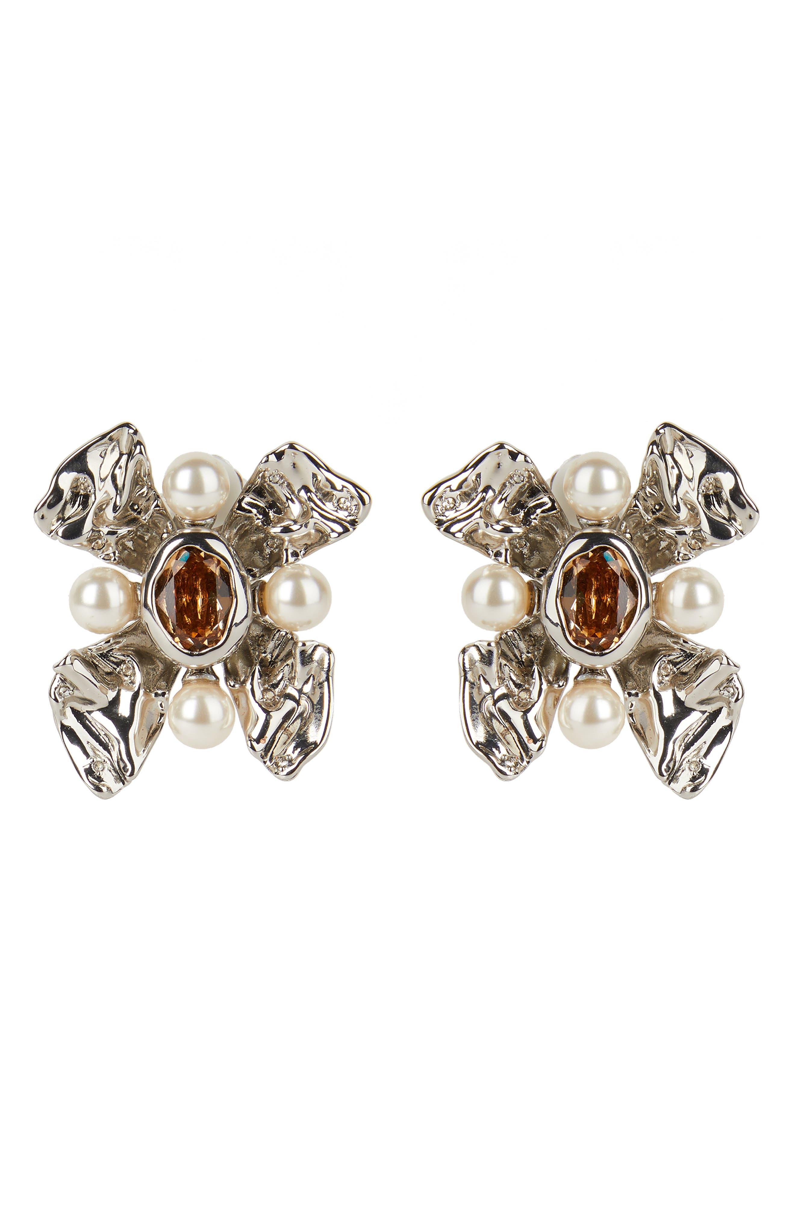 Future Antiquity Byzantine Flower Clip Earrings