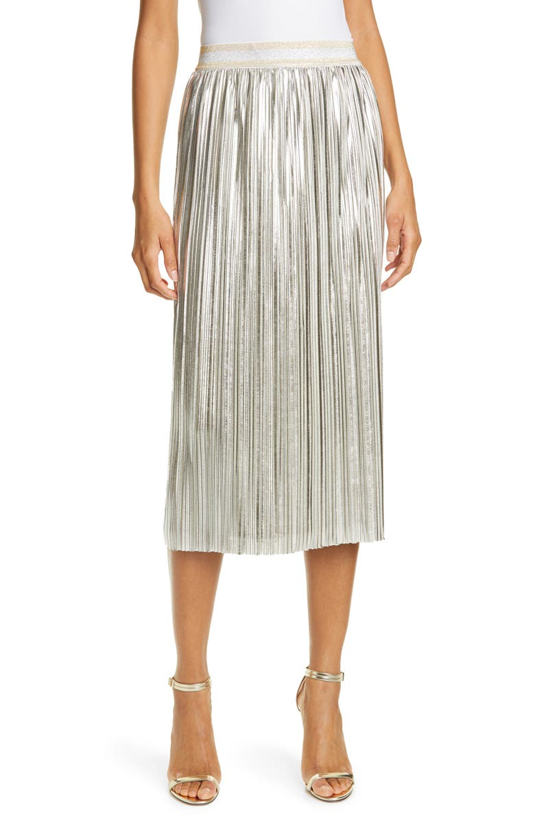 TED BAKER LONDON Ariiana Metallic Pleat Skirt, Main, color, LIGHT GREY
