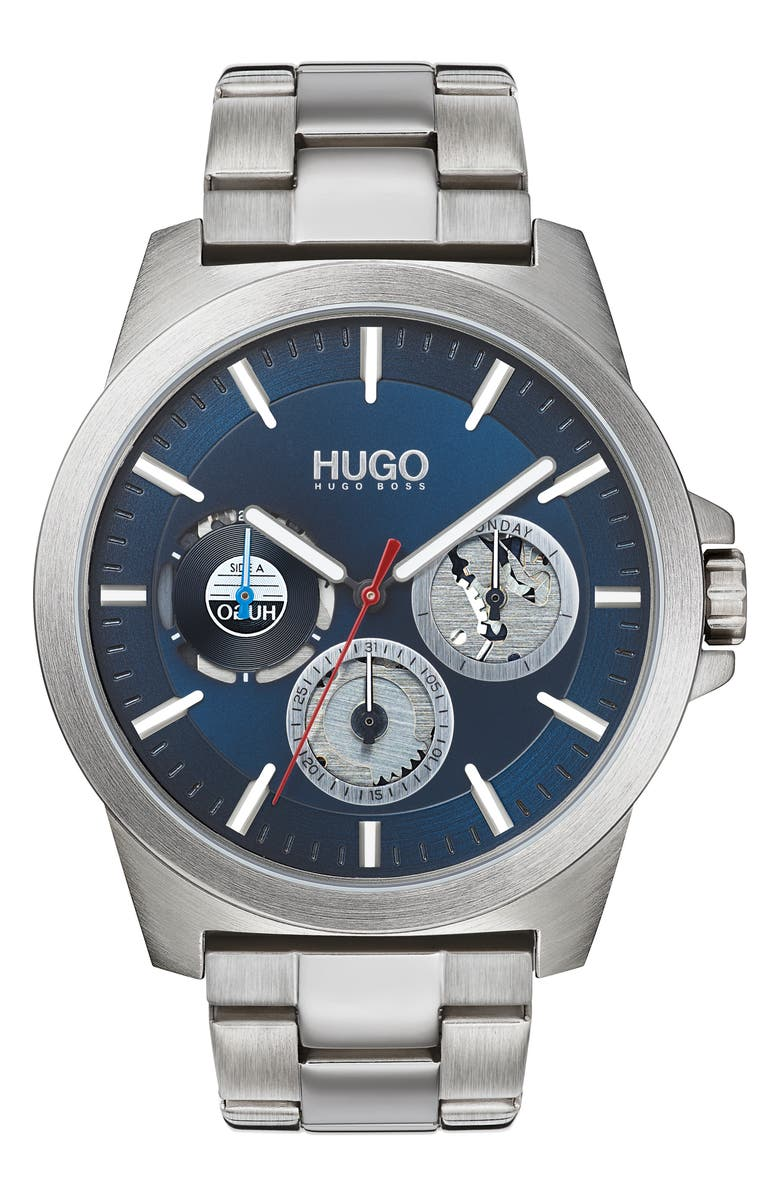 BOSS HUGO Twist Multifunction Bracelet Watch, 44mm, Main, color, SILVER/ BLUE/ SILVER