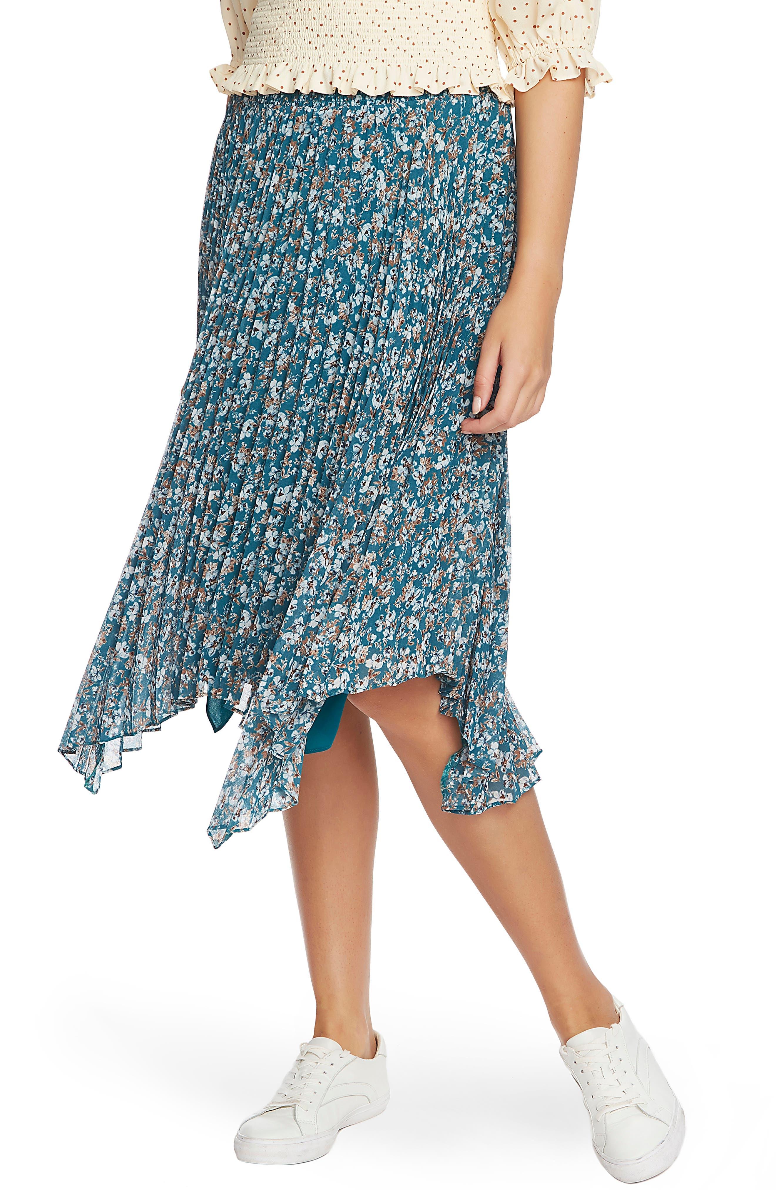 1.STATE Woodland Floral Print Handkerchief Hem Skirt | Nordstrom