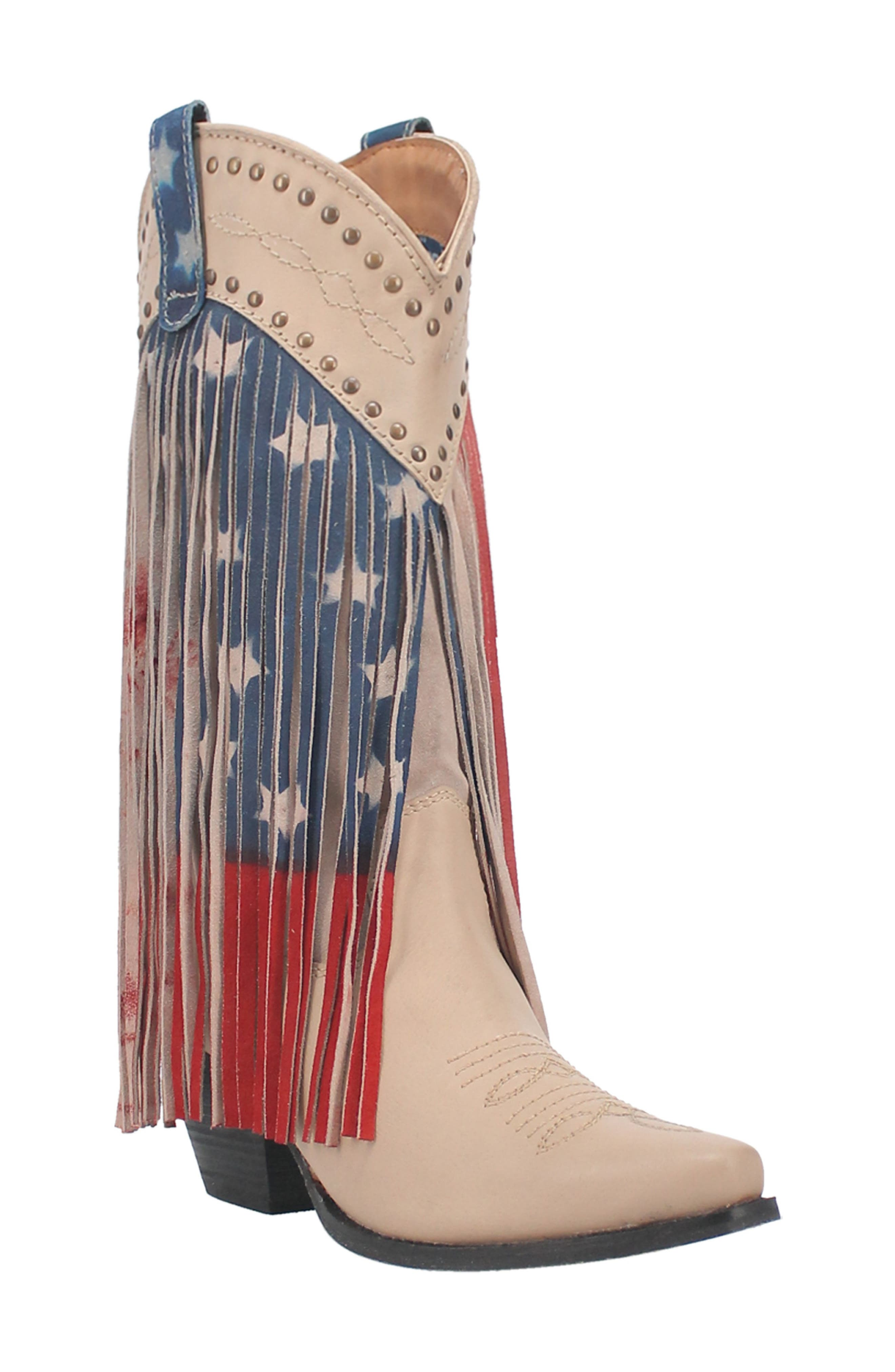 Born In Usa Fringe Western Boot